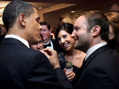 President Obama speaking to David Greene and other attendees of the 2009 White House Correspondents' Dinner.